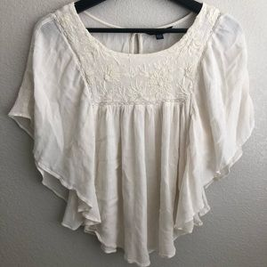 AE XS White butterfly blouse